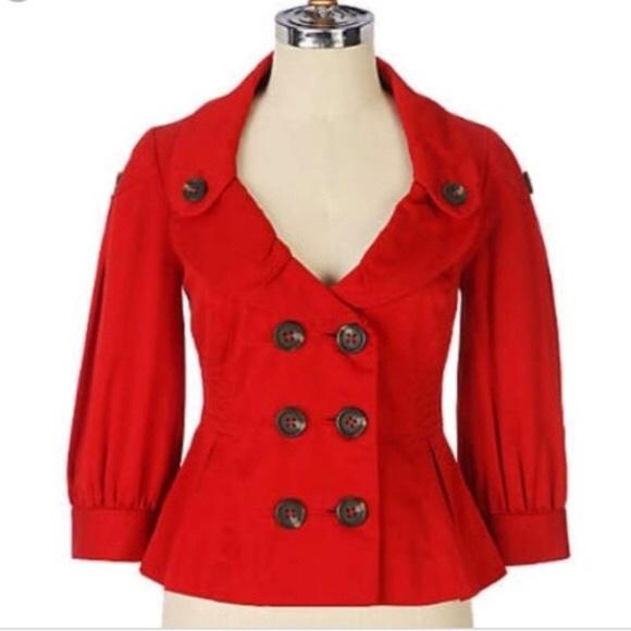 Anthropologie Jackets & Blazers - Anthro Floreat Red Peplum Jacket 4